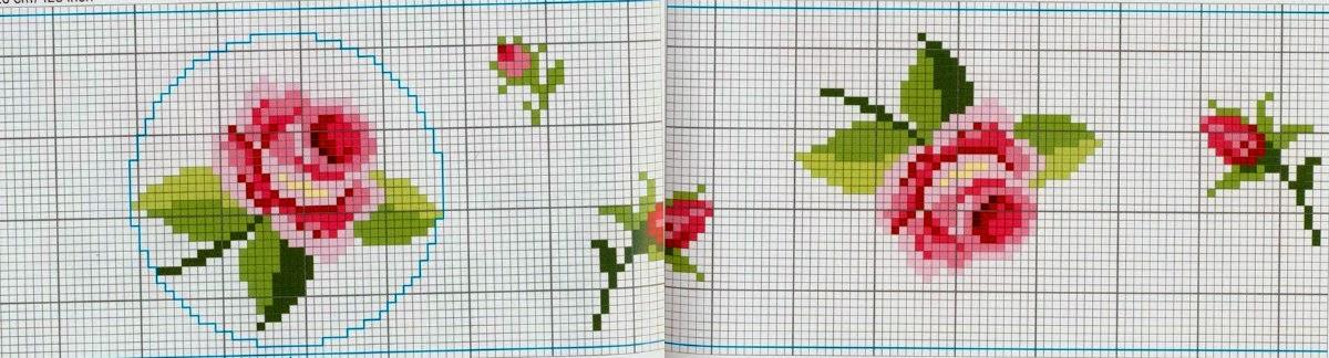 Вышивка крестом роза простая схема 6