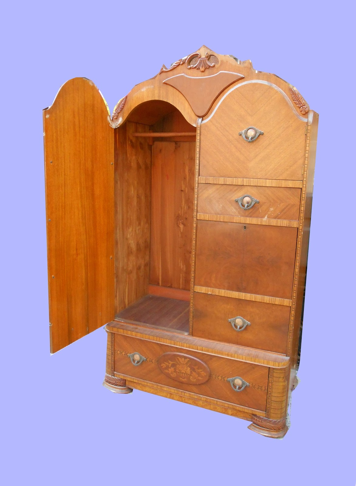 1930s Waterfall Style Cedar Chifferobe w/Drop-Down Desk SOLD - Uhuru Furniture & Collectibles: 1930s Waterfall Style Cedar