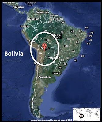 Bolivia en Sudamérica, Vista Satelital