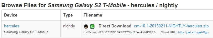 T-Mobile Galaxy S2 Hercules CM10.1
