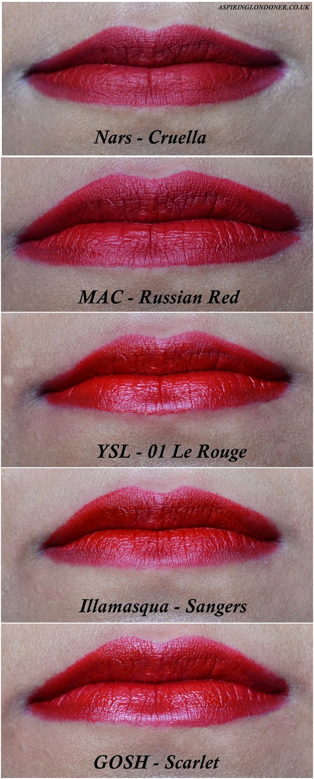 Five Festive Red Lipsticks ft Nars, YSL, Illamasqua, MAC & GOSH Swatches - Aspiring Londoner