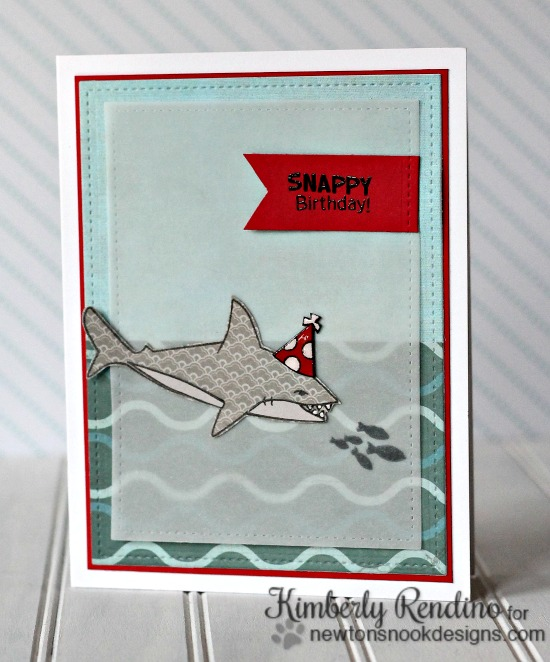 Snappy Birthday Card by Kimberly Rendino | Shark Bites stamp set by Newton's Nook Designs