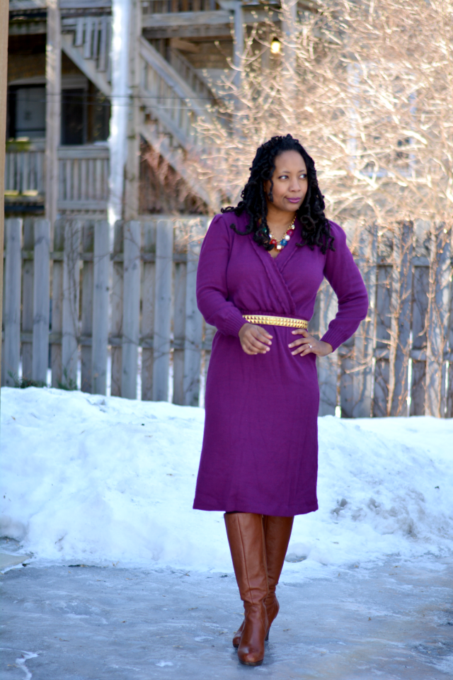 wool purple dress