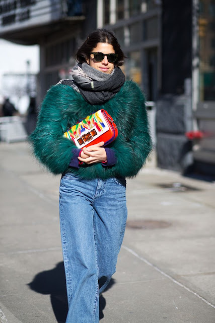 Leandra Medine green faux fur coat NYFW