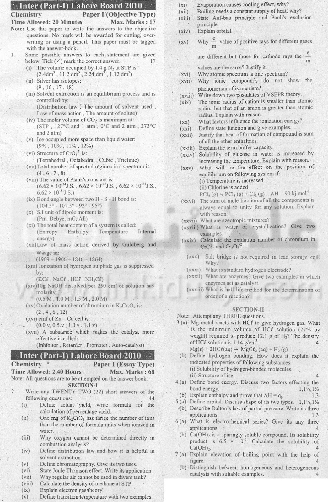 intermediate previous papers chemistry Intermediate ii year model question papers languages sciences humanities   chemistry paper ii(new wef 2013-14) botany paper ii(new wef 2013-14.