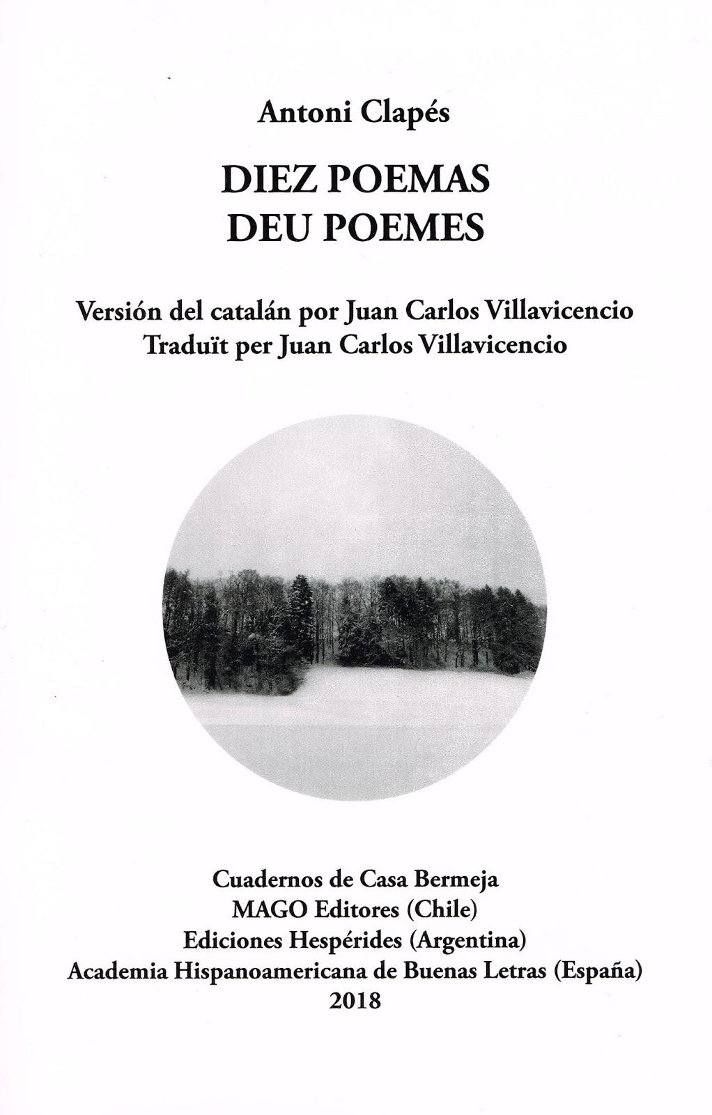 Diez poemas, de Antoni Clapés. Traducción de Juan Carlos Villavicencio
