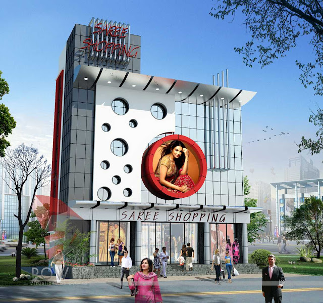 3d Shopping Mall, 3d architectural rendering of mall, 3d exterior view