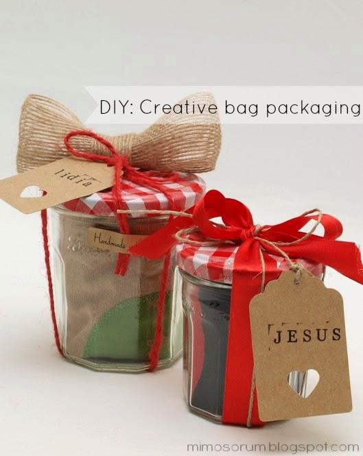 Envoltorio con un tarro de cristal. DIY: Creative Bag Packaging