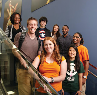 Students on a stairwell
