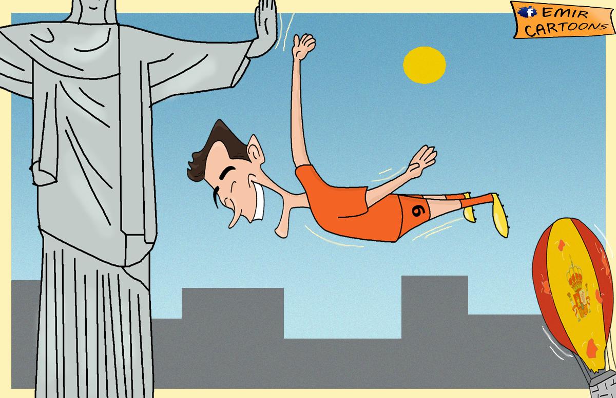 Holandija van persi,Holandija spanija, svjetsko prvenstvo, mundijal,brazil, 2014, karikature,fudbal,karikatura dana, emir cartoons,