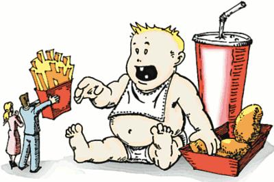 Forældre med fast food til stærkt overvægtig barn