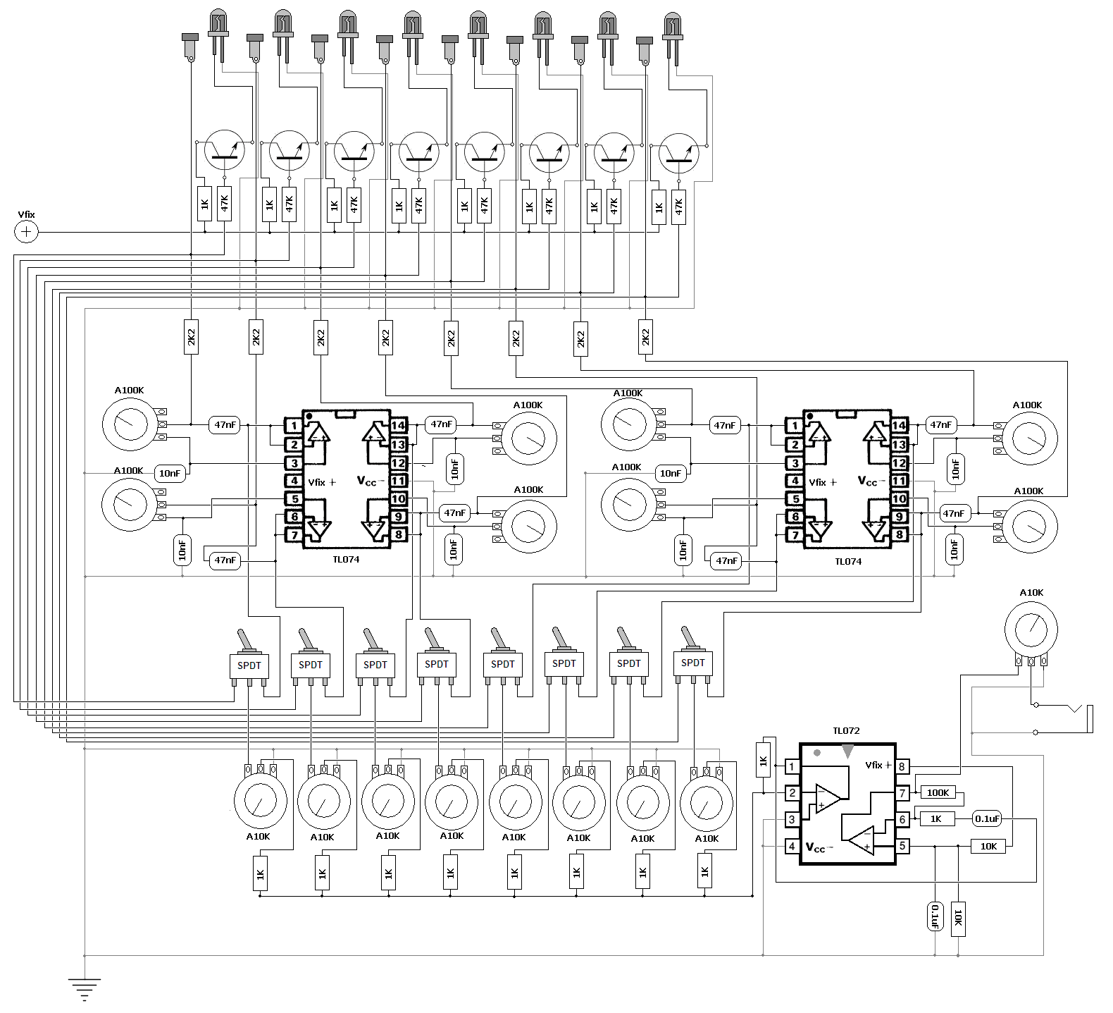 Dgenigts Lab Stripboard Relay Shield Circuit Diagram Click For A Bigger Image Starving Only Affects The Cmos Chips Used Sound Generation Mixer Isnt Affacted By Variable Supply Voltage