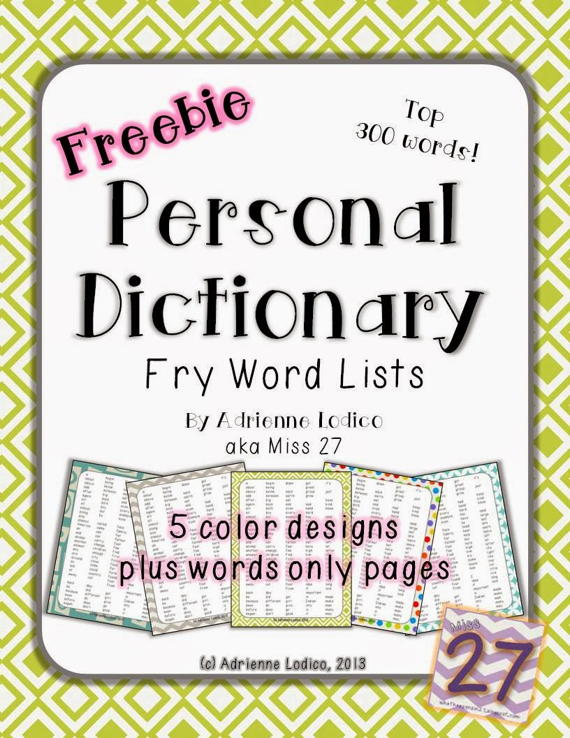 http://www.teacherspayteachers.com/Product/Fry-Word-List-Personal-Dictionary-300-words-FREEBIE-817300