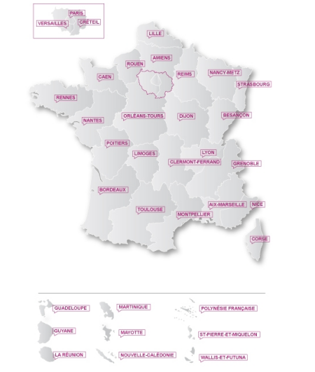 Rsultats du bac 2011 - carte de France des acadmies