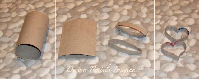 Corazones decorativos con rollo de papel higi nico - Como decorar un rollo de papel higienico ...