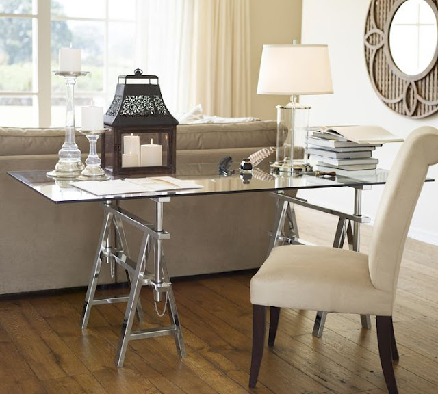 A glass top desk for our home office driven by decor - Glass top office desk ...