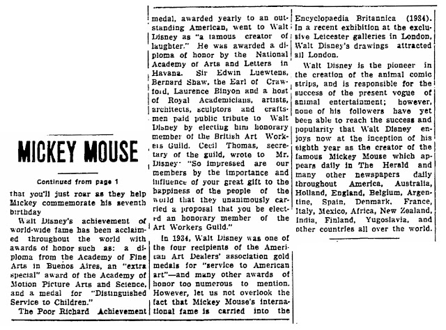 Mickey Mouse to Celebrate Seventh Birthday Saturday, Sarasota Herald