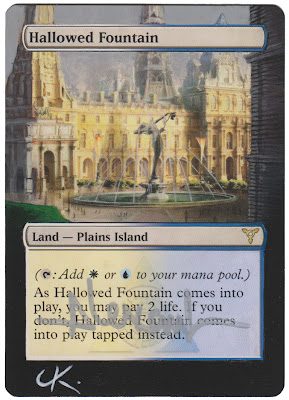 Hallowed Fountain Magic the Gathering altered art Gallery mtg altered art Magic artwork Hallowed Fountain MTG altered dual lands Ravnica Duals