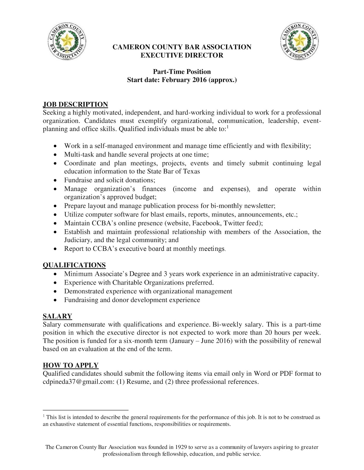 Click Here For A PDF Copy Of The Job Announcement