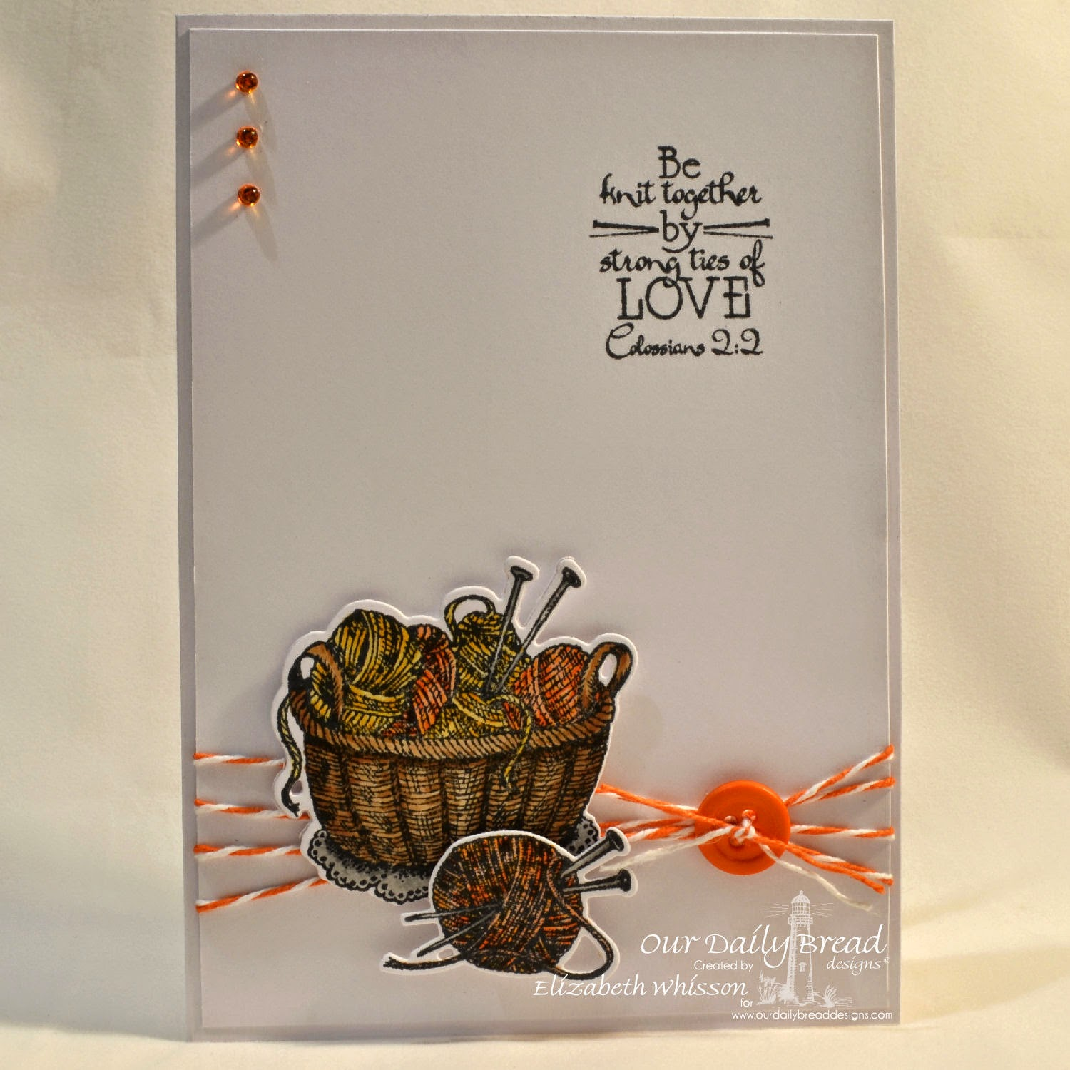 Elizabeth Whisson, handmade card, Copics, Our Daily Bread Designs, Hand Knit, Knitting Basket and Yarn Dies, AnnaBelle Stamps sprinkles, Colossians 2:2