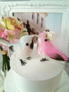 pastel blue and pink feathers love birds wedding cake topper
