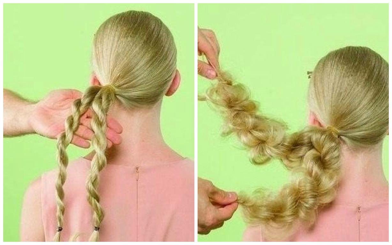 ahora jala la punta del cabello y de esta manera frunciremos toda el cabello que hemos torcido