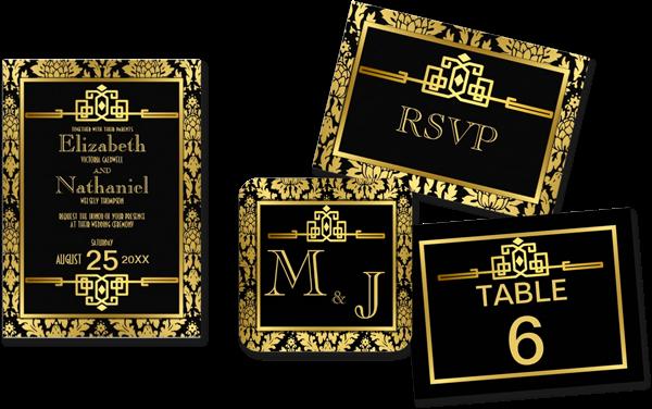 Golden Romance 1920s Art Deco Wedding Invitations