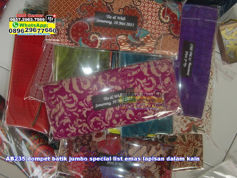 dompet batik jumbo special list emas lapisan dalam kain jual