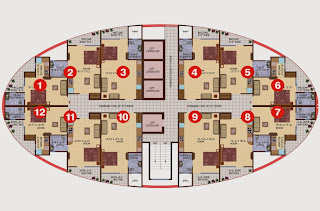 Ceyane Tower :: Floor Plans,Type A:-Cluster Plan12 Units