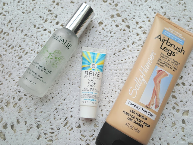 a picture of Caudalie Beauty Elixir, Sally Hansen Airbrush Legs Lotion, Bare Republic SPF 30 Mineral Face Sunscreen Lotion