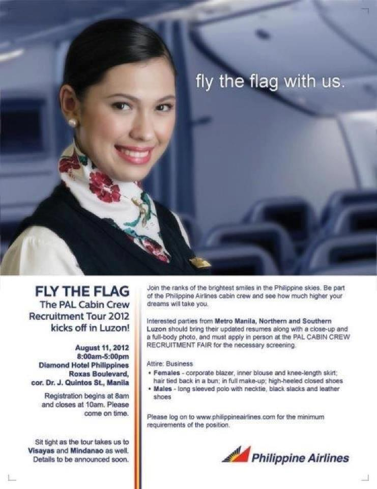 Soul and the e fly the flag the pal cabin crew for Cabin crew recruitment agency philippines