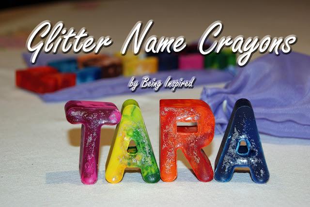 Homemade Glitter Name Crayons
