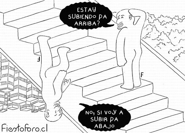 Una patrón que genera una ilusión optica por la cual dos personas parecen estar subiendo en dos direcciones opuestas por la misma escalera. La persona que aparece en el extremo superior le dice a la otra: -Esta subiendo para arriba?- y la otra replica: -No, si voy a estar subiendo para abajo-.