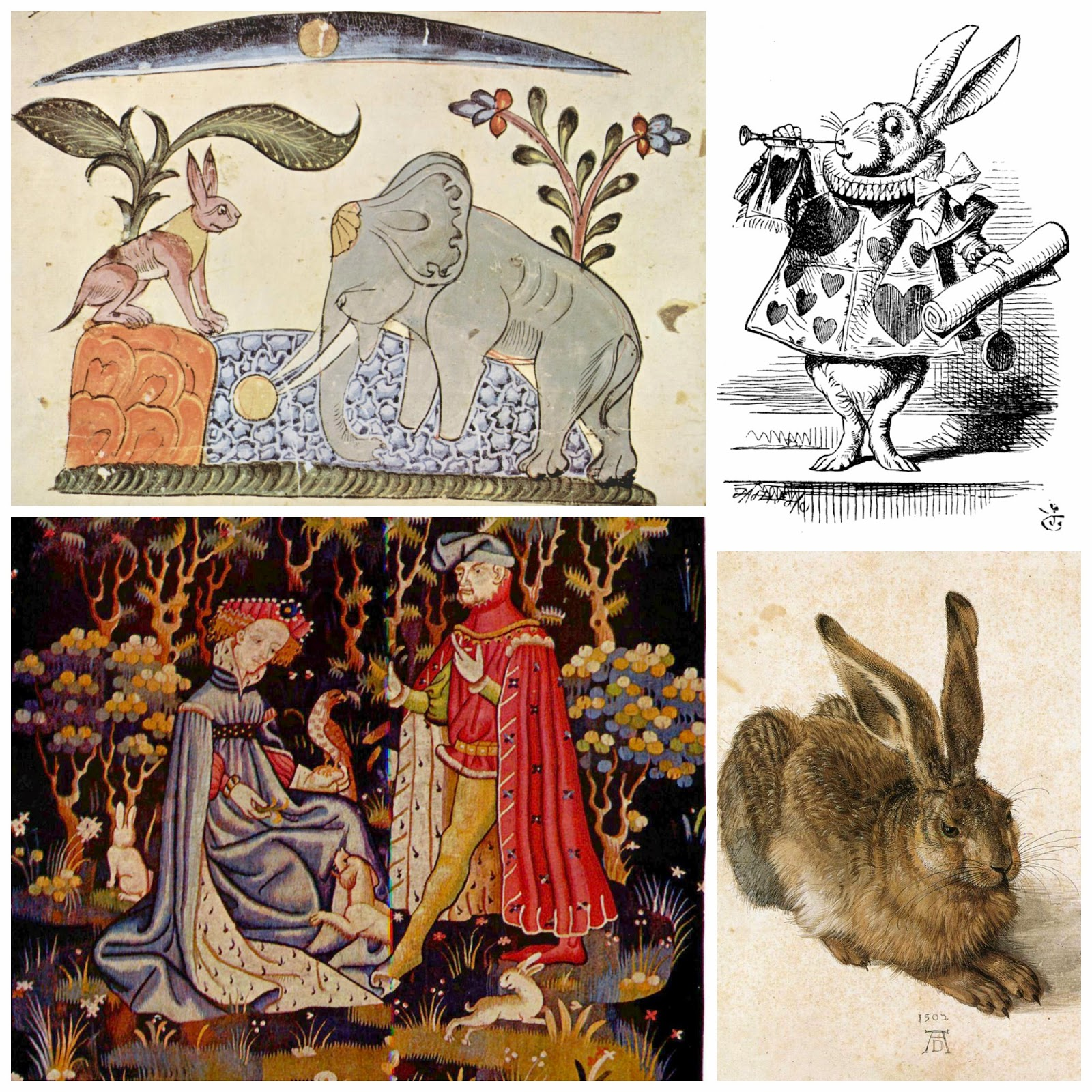What would an exhibit on 'rabbits' look like? All of these pieces would be tagged by content as 'rabbit', yet they all have very different meanings, contexts, and interpretations.