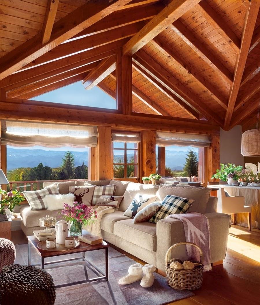 wystrój wnętrz, wnętrza, urządzanie mieszkania, dom, home decor, dekoracje, aranżacje, dom drewniany, domek w górach, chatka, drewniane skosy, drewniane belki, salon