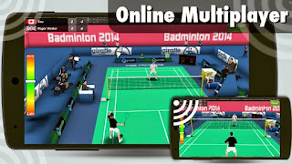 Screenshots of the Badminton 3D for Android tablet, phone.