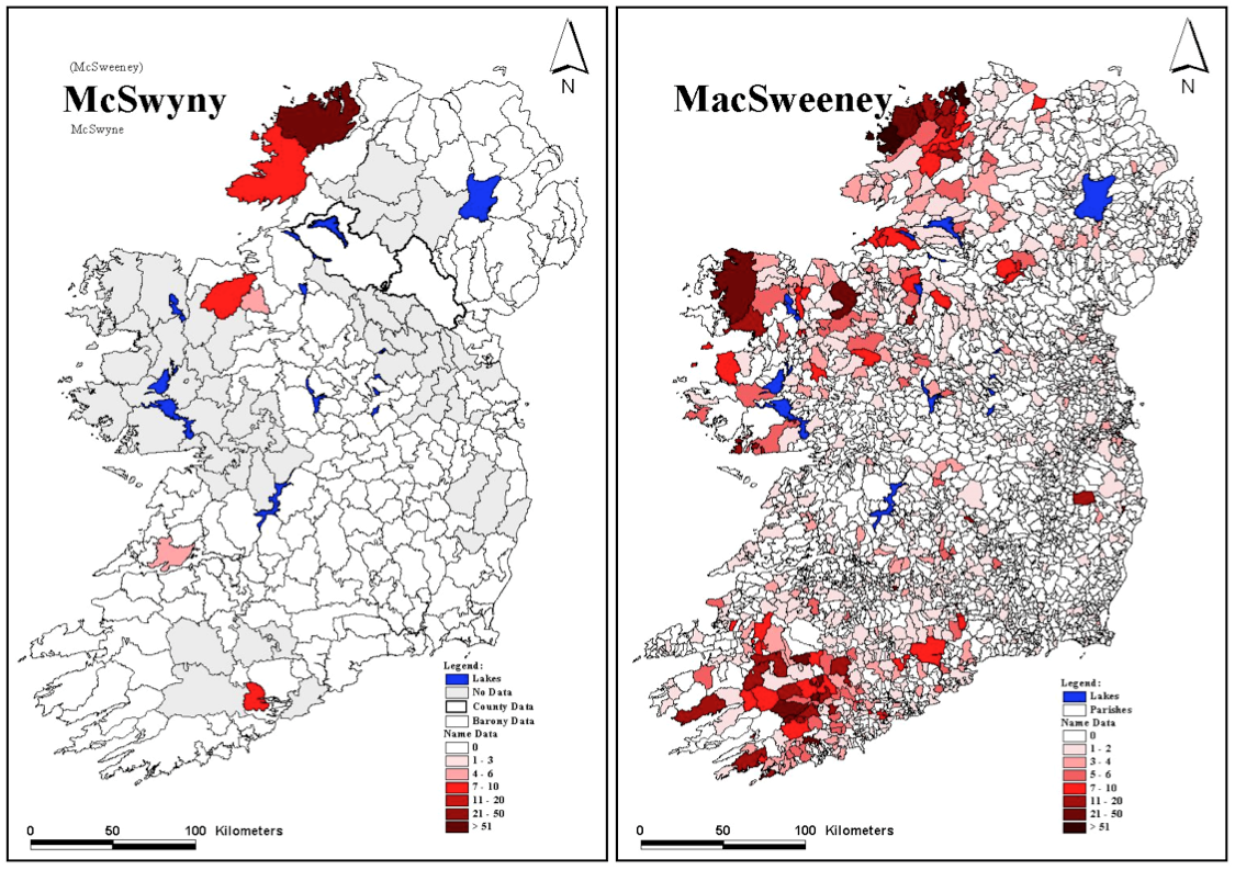 Icara sweeney the story behind the name sweeney surname maps for c1659 and c1850 william j smyth project leader atlas of family names of ireland university college cork ireland altavistaventures Gallery
