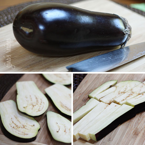 Place eggplant strips in a bowl and season with olive oil, salt and ...