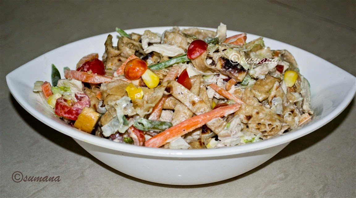 salad recipe with leftover roti and chicken