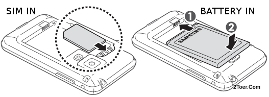 Inserting SIM Card to its slot and Assemble Battery to its compartment
