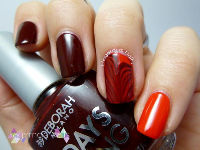Nail art Rojo y Water marble. Hagamos Nails