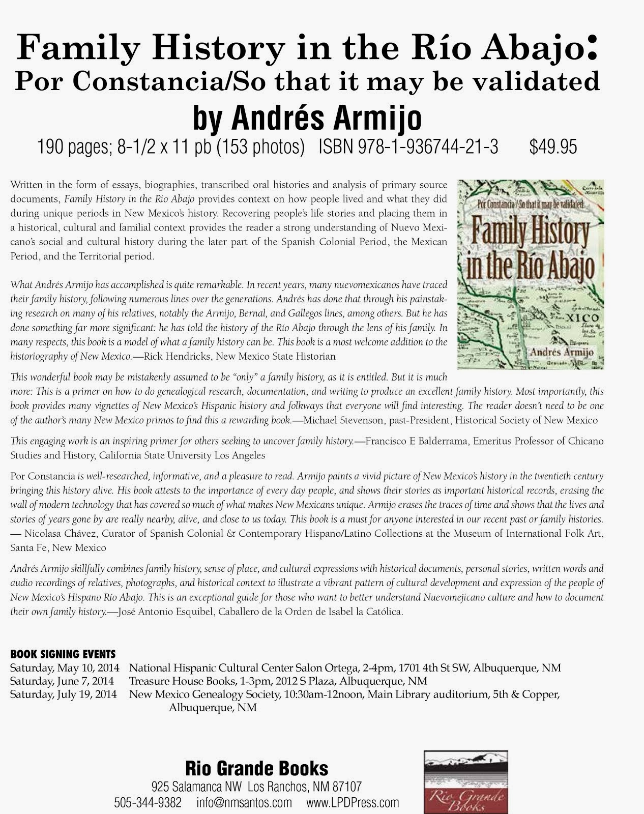 "Book Launch and Signings for ""Family History in the Río Abajo"""