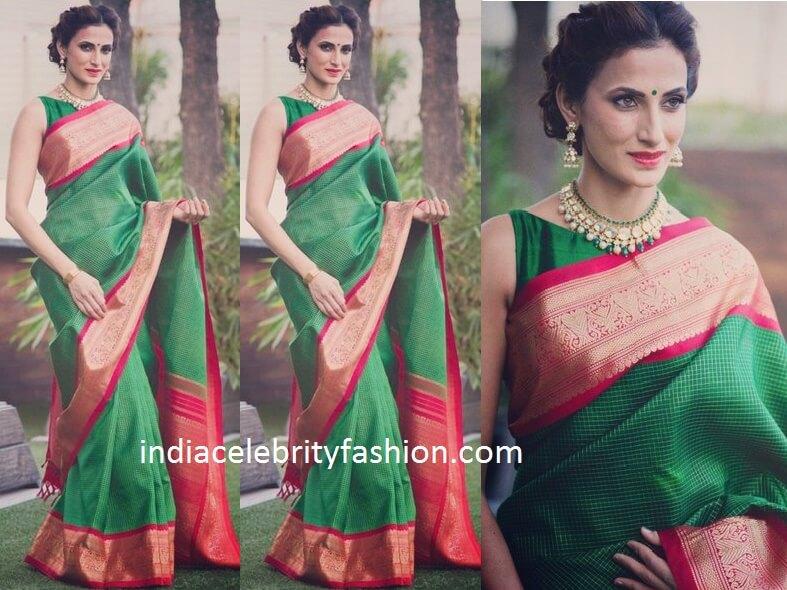 eee2fb24e9f1f7 Shilpa Reddy in Green Traditional Saree