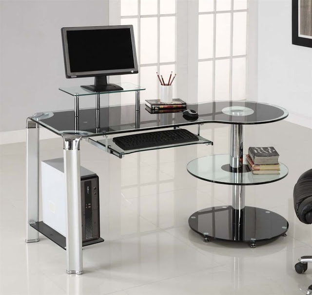 awesome glass computer desks with round additional glass desk along with metal legs on white ceramic floor