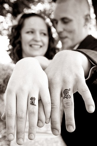 ♥ ♫ ♥ Michelle Perez-Ortiz:   wedding ring tattoos. My husband and I have the eternity symbol on our fingers! To me it's more meaningful than a ring (which we both have). It can't be removed like a ring and the whole symbol of death do you part (eternity) hasten lost in a lot of marriages what an awesome reminder ♥ ♫ ♥