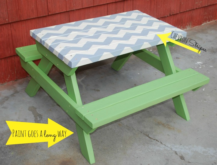 Chevron stripe picnic table