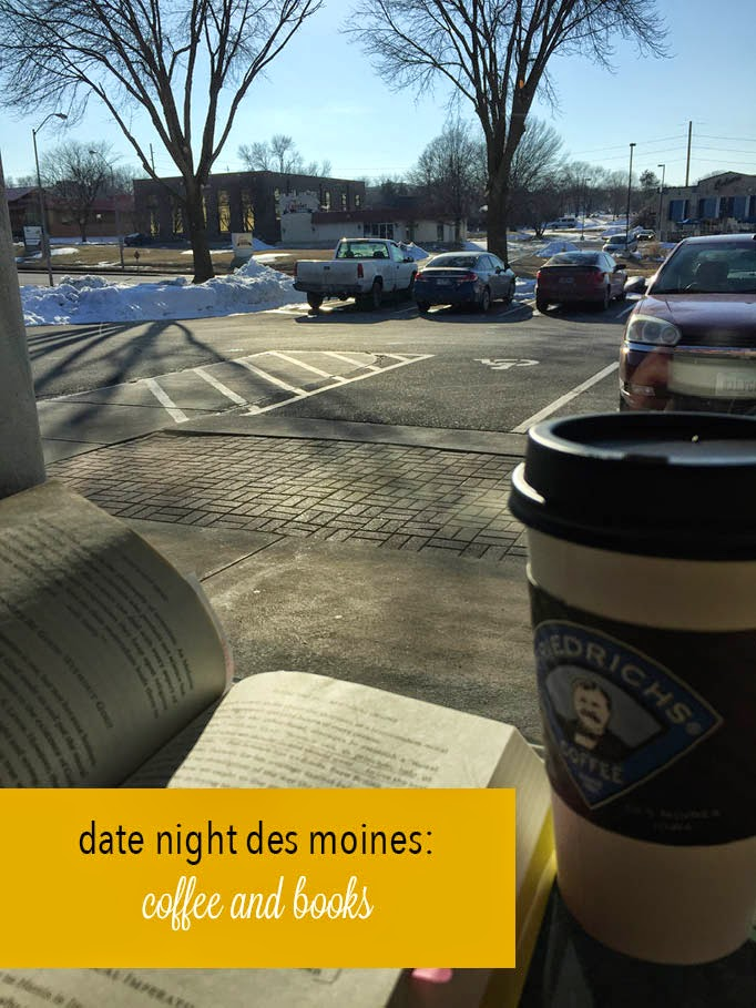 date night des moines, getting coffee and reading books together