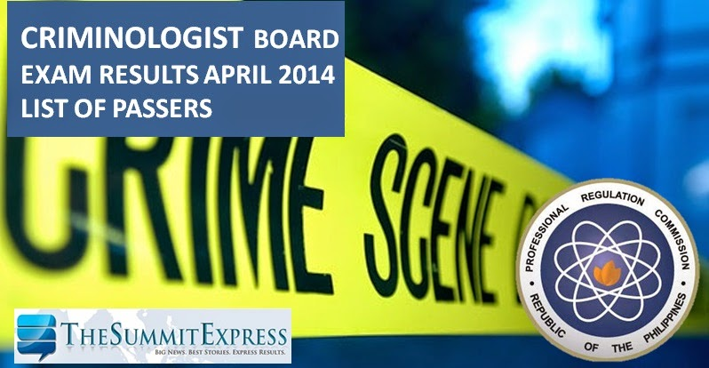 April 2014 Criminologist board exam results | List of Passers
