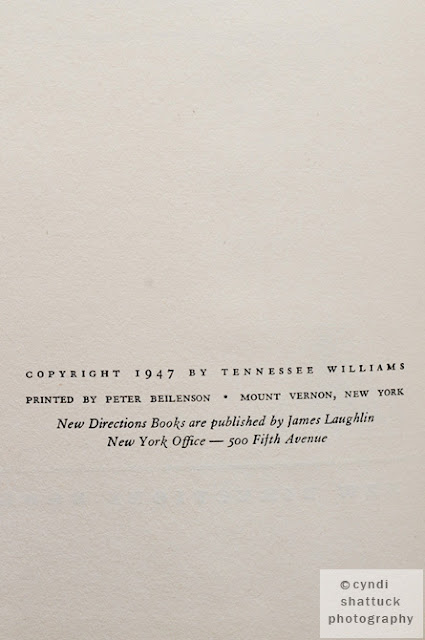 The copyright page from a first edition of A Streetcar Named Desire