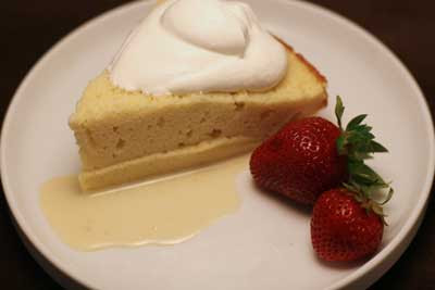 tres leches cake with whipped cream